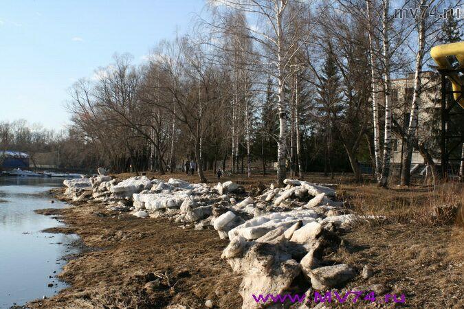 Река Сим после ледохода. Аша, Челябинская область